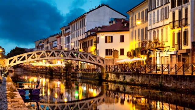 Bridge across the Naviglio Grande canal video