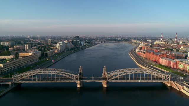bridge aerial shot of a summer of morning in saint petersburg - treedeo saint petersburg stock videos & royalty-free footage