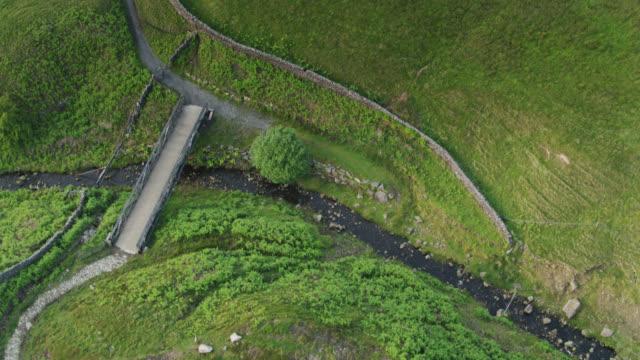 Bridge Crossing Stream in Pennines - Aerial