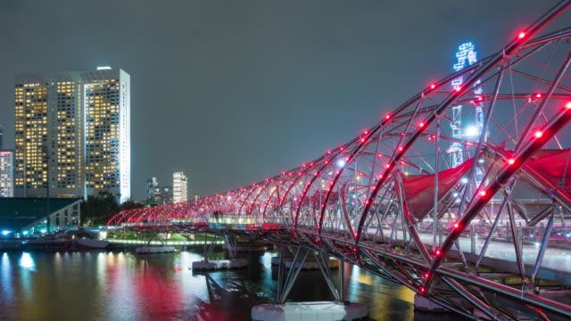4K TL: Bridge landmark of Singapore city. 4K TL: Bridge landmark of Singapore city. singapore architecture stock videos & royalty-free footage