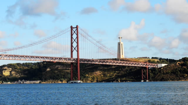 Bridge of 25th april in Lisbon. Bridge of 25th april in Lisbon. ponte 25 de abril stock videos & royalty-free footage