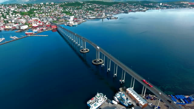 Bridge of city Tromso, Norway Aerial footage video