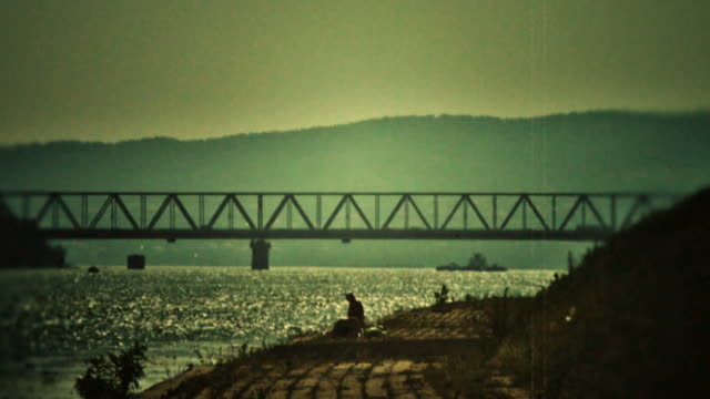 Bridge on Danube - retro, 1950's old camera footage