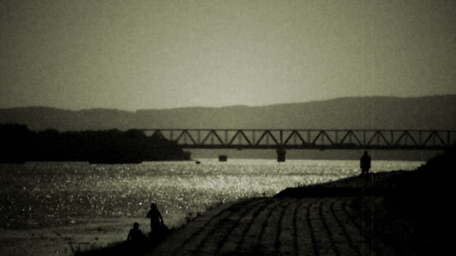 Bridge on Danube river - retro, 1950's old camera footage B/W film clip 1950's style. This clip has been graded and done like this for the effect of a old film. Shaking, dirt, hair, scratches, grain, noise and blur added for authenticity.  black and white architecture stock videos & royalty-free footage