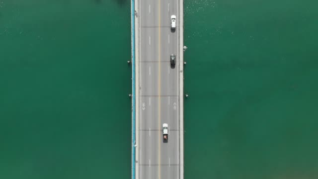 bridge over river water from directly above - aerial road stock videos & royalty-free footage