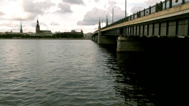 ponte sul fiume - lettonia video stock e b–roll