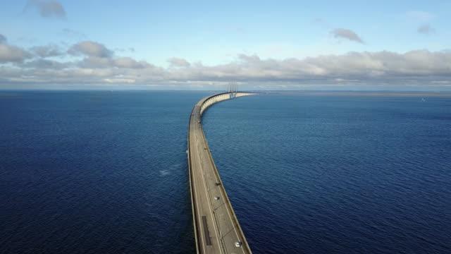 Bridge over the sea - Olesund bridge between Denmark and Sweden Bridge over the sea - Olesund bridge between Denmark and Sweden denmark stock videos & royalty-free footage
