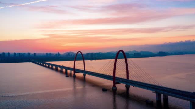bridge with sunrsie,hyperlapse