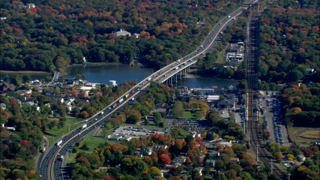 bridges over Saugatuck river at wesport - Aerial View - Connecticut,  Fairfield County,  United States This clip was filmed by Skyworks on HDCAM SR 4:4:4 using the Cineflex gimbal. Connecticut,  Fairfield County,   United States connecticut stock videos & royalty-free footage