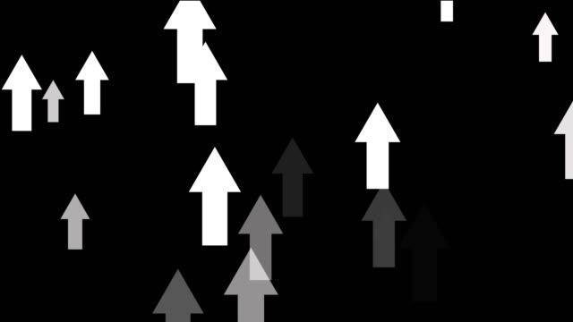 bright abstract arrows going upwards, positive moving up concept loop black - arrow filmów i materiałów b-roll