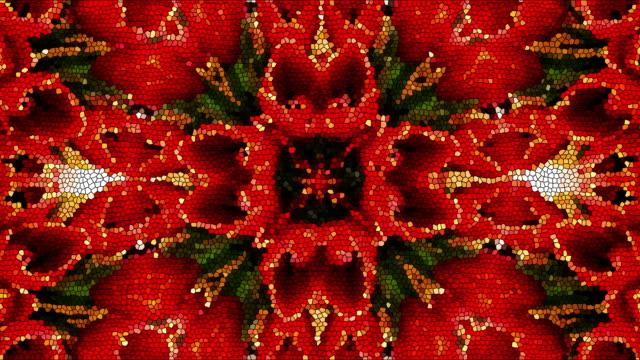 vídeos de stock e filmes b-roll de bright beautiful mosaic like flower, beautiful ornament, 3d render computer generated background - mosaicos flores