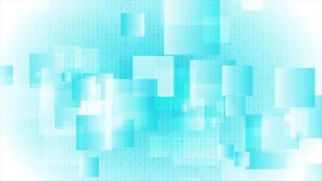 明るい青い光沢のある正方形の抽象的な動きの背景 - バイナリーコード点の映像素材/bロール
