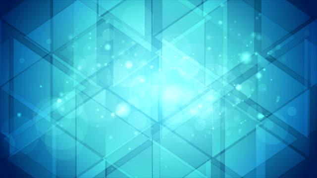 bright blue shiny bokeh and low poly background video animation - bokeh stock videos & royalty-free footage