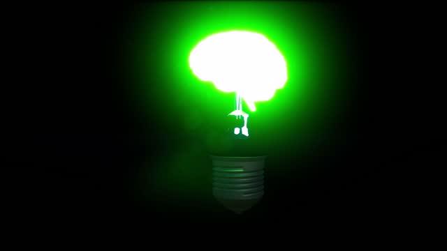 Bright brain light bulb in 3d style blink 4k