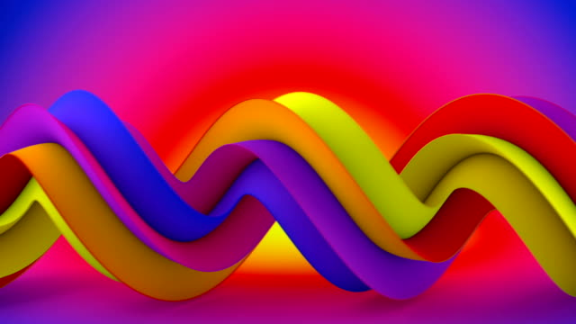 Bright color spiral 3D shape spins seamless loop animation video
