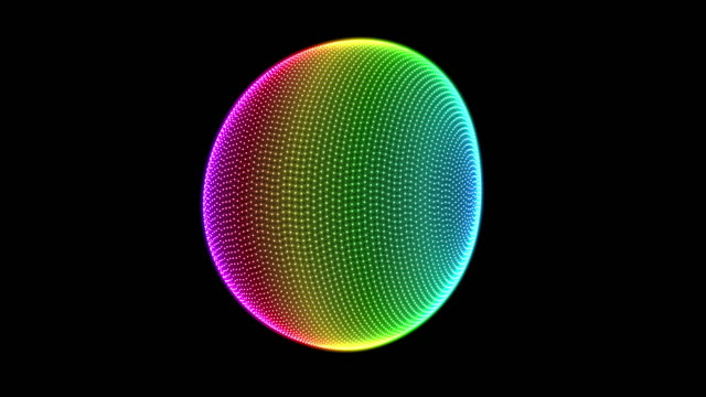 bright colorful 3d sphere shape spinning seamless loop - morphing video stock e b–roll