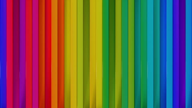 vídeos de stock e filmes b-roll de bright colorful vertical lines seamless loop 3d render animation - vertical