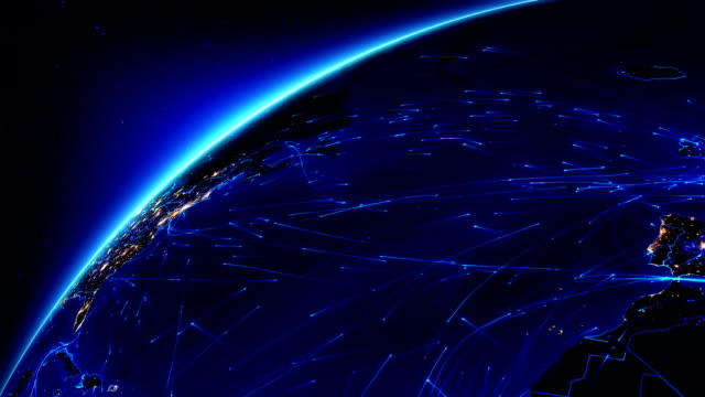Bright connections moving around Earth. US/Europe with city lights.