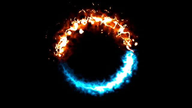 bright dymanic fire and ice ring in space, this is opposite symbol, 3d render, computer generated background - лёд стоковые видео и кадры b-roll