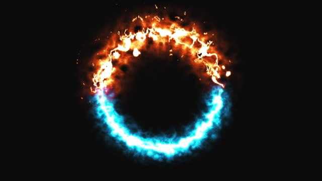 bright dymanic fire and ice ring in space, this is opposite symbol, 3d render, computer generated background - ice on fire video stock e b–roll