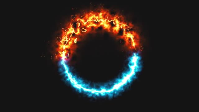 fuoco dymanico luminoso e anello di ghiaccio nello spazio, questo è il simbolo opposto, il rendering 3d, lo sfondo generato dal computer - ice on fire video stock e b–roll