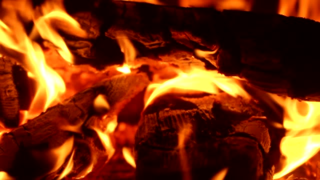 bright fire in a fireplace video