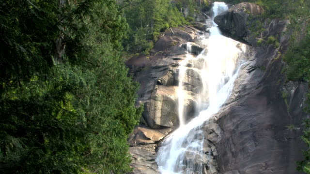 bright flowing waterfall in whistler video