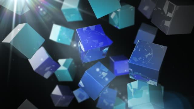 Bright Glossy Cubes Loop - Blue Streak (Full HD) video