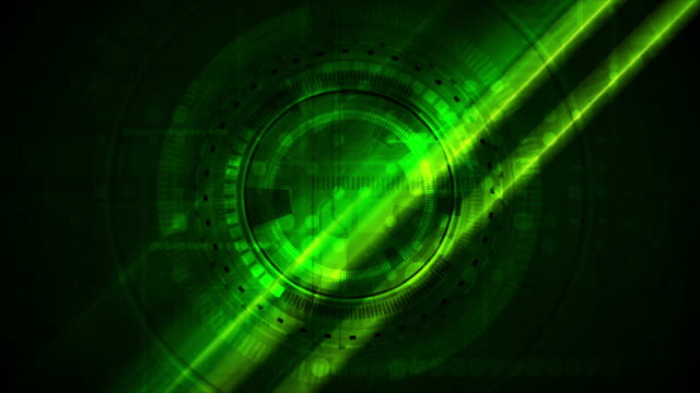 Bright green glowing technology video animation with HUD gear