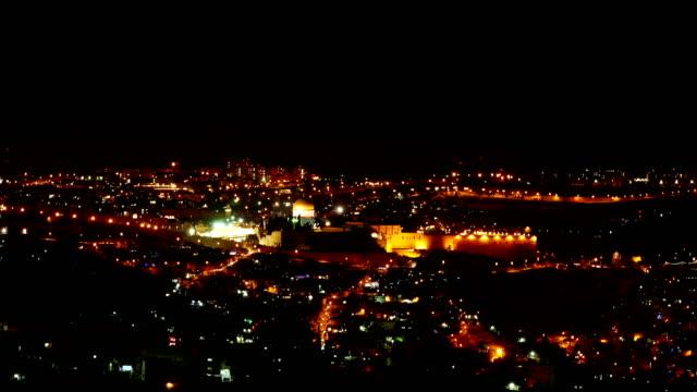 Bright Jerusalem city lights at night video