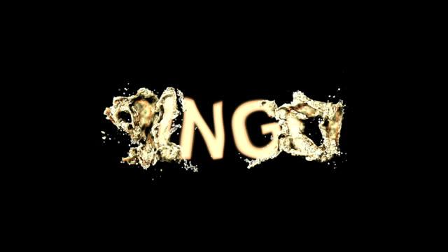 bingo de palabra brillante insignia animación colorida pintura de aerosol - vídeo
