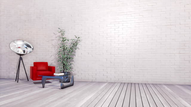 Bright minimalist interior with copy space on empty white brick wall