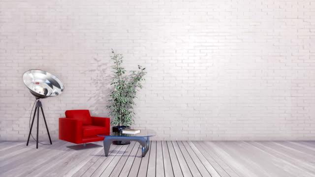 Bright minimalist loft interior with empty brick wall 3D animation