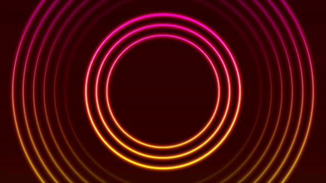 bright neon circle rings abstract video animation - intelaiatura video stock e b–roll