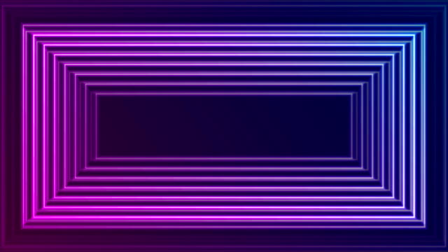 Bright neon glowing rectangle frame video animation