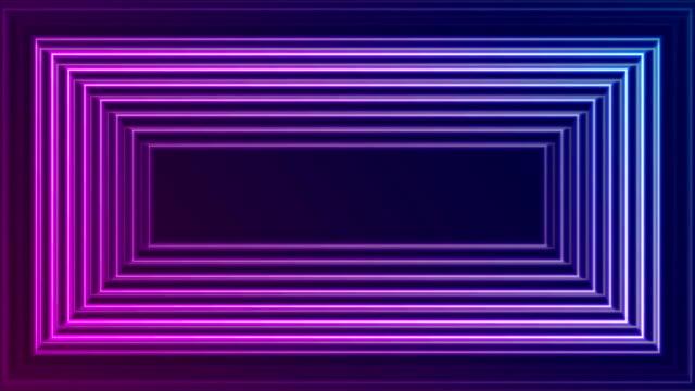 bright neon glowing rectangle frame video animation - striato video stock e b–roll