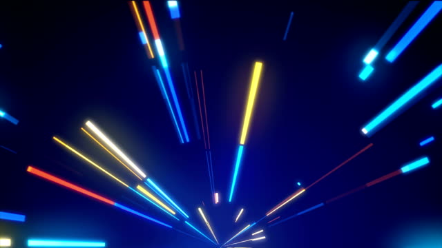 Bright neon lines loop, modern neon technology, immitation of movement on night road, 3d computer generated backdrop