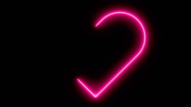vidéos et rushes de coeur lumineux de signe de néon. signe rétro de coeur de néon sur le noir. élément de conception pour la saint-valentin heureuse. pour la carte de voeux, la bannière, le panneau d'affichage. disponible en 4k - contour