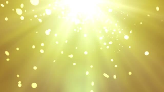 Bright particles of golden confetti video