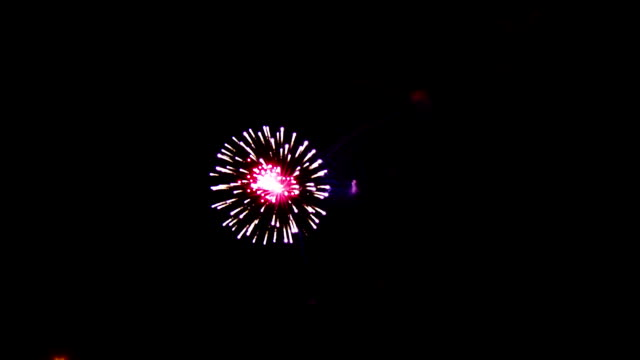 Bright red white and blue fireworks against the night video