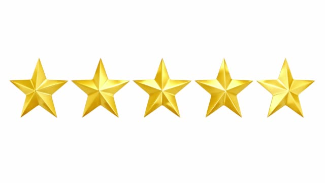 bright shine across five golden stars for five star rating or review, with mask. loop. 3d render. - cinque oggetti video stock e b–roll
