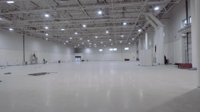 Bright, spacious, white pavilion (hangar) for carrying out the events video
