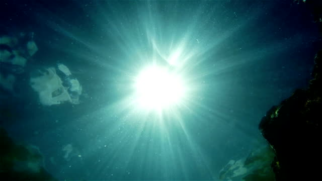 Bright sun throught water Underwater camera shot video