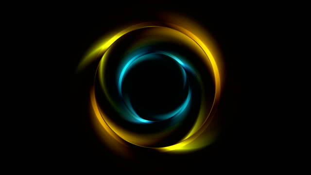 Bright yellow and blue glowing rings video animation Bright yellow and blue glowing rings abstract motion design. Seamless loop. Video animation Ultra HD 4K 3840x2160 web banner stock videos & royalty-free footage
