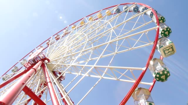 Brightly colored ferris wheel against the blue sky video