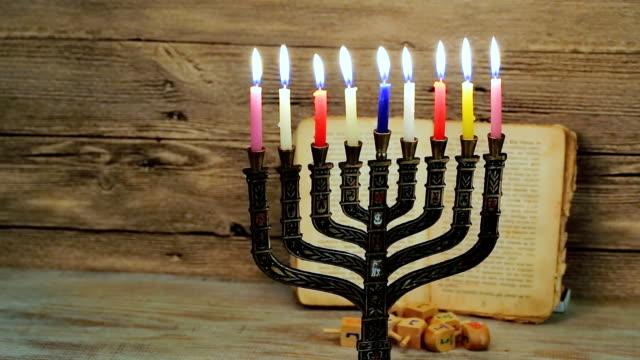 Brightly Glowing Hanukkah Menorah - Shallow Depth of Field video