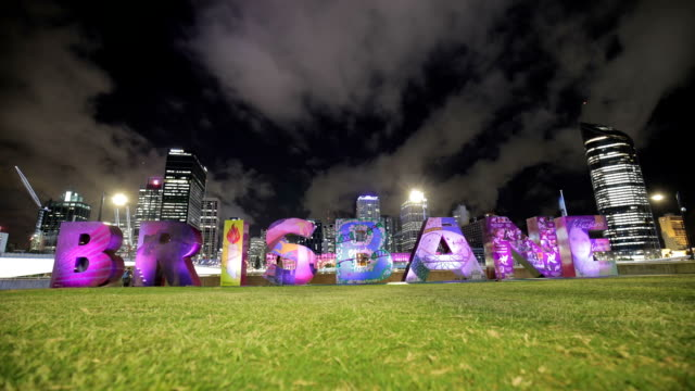 Brisbane Sign and Skyscrapers at Night video