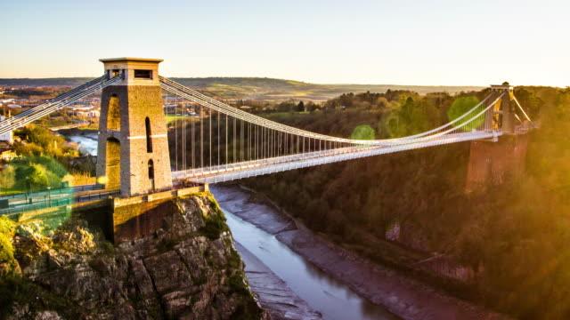 Bristol Bridge Bristol suspension bridge day to night time-lapse suspension bridge stock videos & royalty-free footage