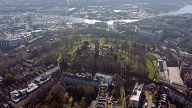 Bristol city in the UK town center aerial panoramic view with Cabot Tower