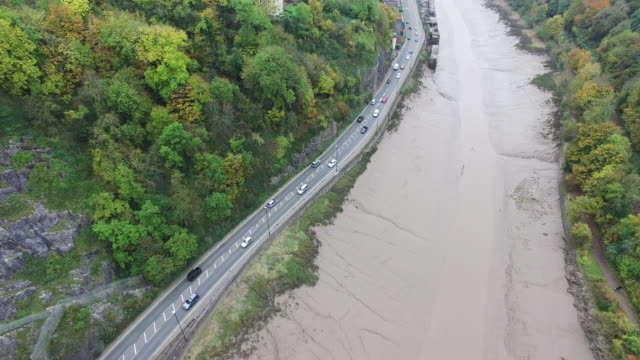 Bristol road and river Avon aerial view video